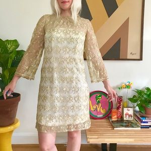 Vintage 60s bell sleeve lace mini dress S